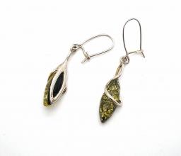 Bernstein-Ohrhänger grün mit 925er Silber