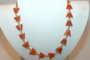 Rote Aventurin Halskette mit Swarovski Bicone