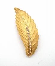 Anhänger 18kt. Gelb Gold wie ein Blatt mit  Diamanten