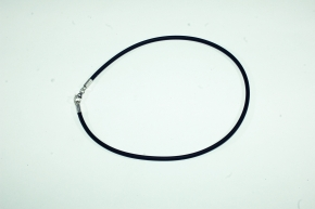 36 cm Lederband aus Kautschuk -Schwarz, 925 Silber Karabinerverschluß