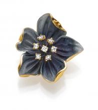 Anhänger 18kt. Gold Blume Blau mit 7 Diamanten 0.11