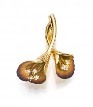 Anhänger 18kt. Gold wie 2 Blumen mit Diamanten