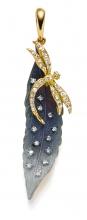 Anhänger 18kt. Gold blau mit Diamanten