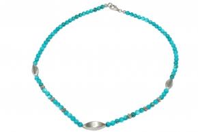 Wunderschöne Muschelkernperle Halskette mit 925 Silber