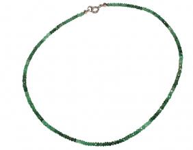 Wunderschöner facettiert Smaragd-Halskette mit 925er Silber