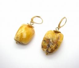Weiß Honig Bernstein-Ohrhänger - 925 Silber vergoldet
