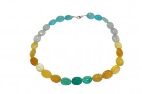 Wunderschöne Multicolor Edelstein-Halskette Oval