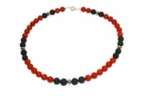 Wunderschöne Schaumkoralle/lava-Halskette mit 925er Silber