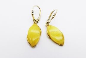 Weiß Honig Tropfen Bernstein - Ohrhänger - 925 Silber vergoldet