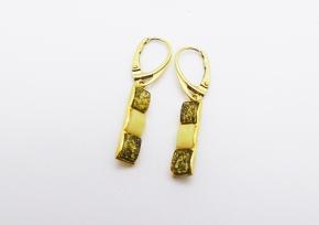 Weiß Honig und GrünBernstein-Ohrhänger - 925 Silber vergoldet