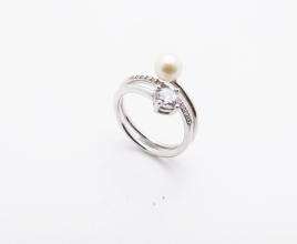 925-SilberRing mit Perle und Zirkonia