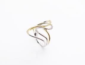 925-Silber und Gold plattiert Ring mit Zirkonia
