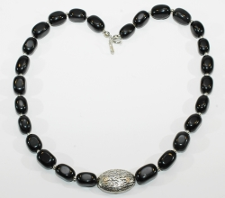 Wunderschöne Onyx Nugget-Halskette mit 925er Silber