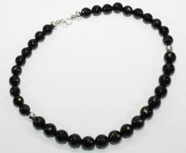 Schöner Onyx  Facettiert-Halskette mit 925er Silber