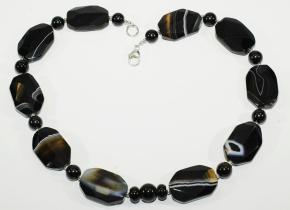 Schöner Onyx Sardonyx Facettiert Oval-Halskette mit 925er Silber