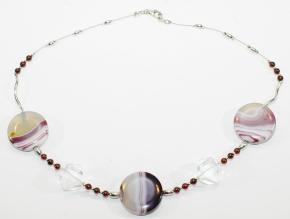 Achat/Granat und Bergkristall-Halskette mit 925er Silber