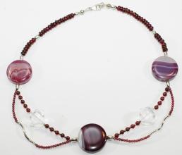 Granat/Achat/Bergkristall-Halskette mit 925er Silber