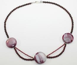 Granat/Amethyst-Halskette mit 925er Silber