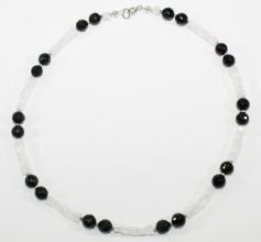 Onyx Facettiert -Bergkristall würfel-Halskette mit 925er Silber