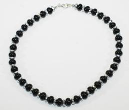 Onyx Halskette mit Hämatit facettiert, Facetten Platinfarben
