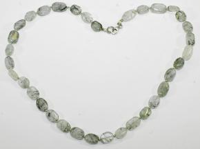 Labradorit-Halskette (Oliven) mit 925er Silber Zwischenteile