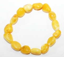 Natur Bernstein-Armband  Honig - Weiß