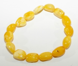 Bernstein-Armband  Honig - Weiß