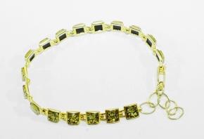 Bernstein-Armband in 925 Silber vergoldet gefasst