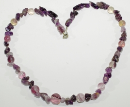 Amethyst/Fluorit-Halskette mit 925 er Silber