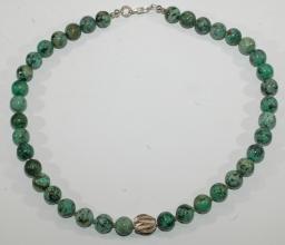 Wunderschöner Türkis Afrik.-Halskette mit 925er Silber