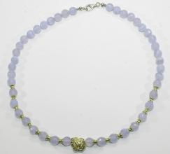 Chalcedon-Halskettefacettiert mit 925er Silber