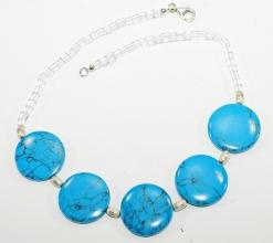 Wunderschöne Halskette mit Türkis, Bergkristall und 925er Silber