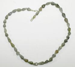 Labradorit-Halskette (Oliven) mit 925er Silber Karabiner Verschluss