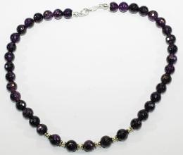 Wunderschöne Amethyst - facettiert-Halskette A Qualität mit Silber Zwischenteile