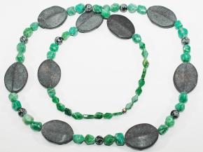 Achat-Halskette endlosmit Onyx, Schneeflocken Obsidian und eine Kugel925 Sterlingsilber