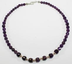 Wunderschöne Amethyst Dunkel- facettiert-Halskette A Qualität mit 925er Silber und Swarowski Zwischenteile