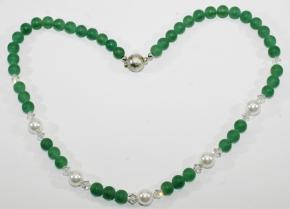 Wunderschöne Halskette: Aventurin-Swarovski Bicone