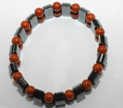 Hämatit-Armband mit rotem Jaspis auf Elastikband