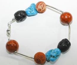 Wunderschöne Armband mit Koralle, Silber, Türkis und Lava