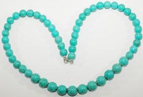 Hochwertig verarbeitete Howlith / Türkis-Halskette mit 925 Silber