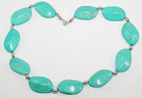 Howlith/Türkis-Halskette mit 925er Silber Oval mit Silber