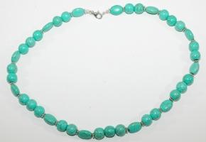 Howlith/Türkis-Halskette mit 925 Silber