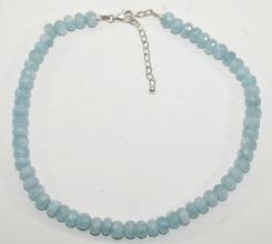 Wunderschöne Aquamarin Linse-Halskette Facettiert AA