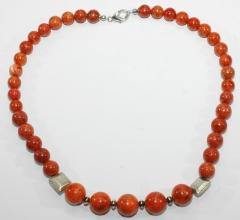 Schöne Rote Schaumkoralle mit 925er Silber