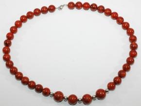 Rote Schaumkoralle Kugel-Halskette mit 925er Silberkugel