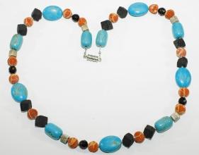 Howlith/Türkis-Halskette mit Schaumkoralle,Lava, Onyx facettiert, 925 Silber Zwischenteile mit Magnet Verschluss