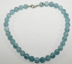 Wunderschöne Aquamarin Kugel-Halskette AA