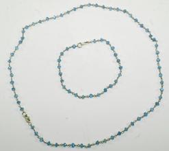 Wunderschöne Aquamarin Set aus Halskette und Armband