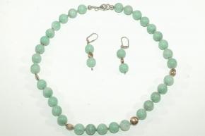 Wunderschöne Amazonit Set aus Halskette und Ohrhänger  mit 925er Silber vergoldet
