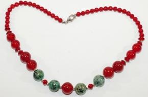 Wunderschöne Carneol/Chysopras - Halskette mit 925er Silber